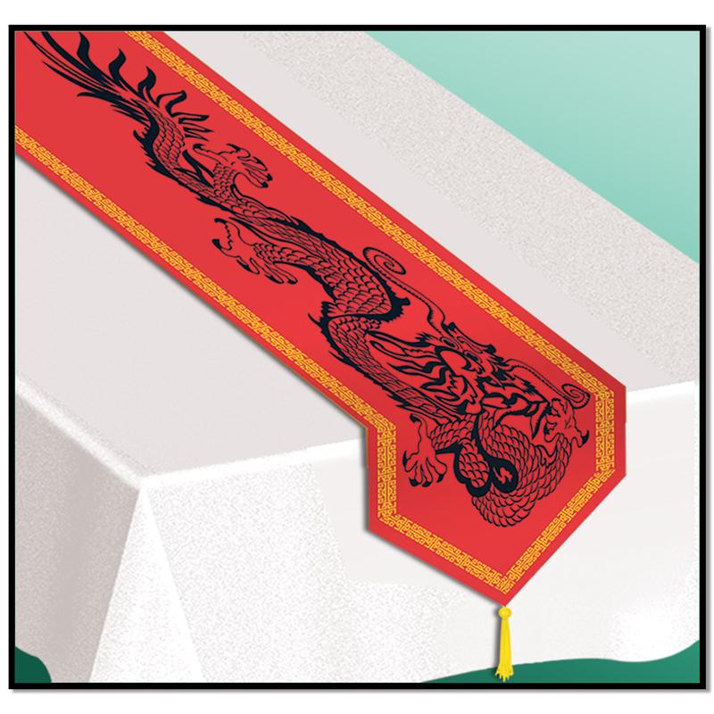 Nappe blanche et chemin de table chinois asiatique for Tissu pour chemin de table