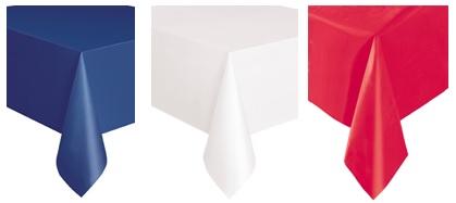 nappe en plastique bleue ou blanche ou rouge de x m tres soir e deux ou entre amis. Black Bedroom Furniture Sets. Home Design Ideas